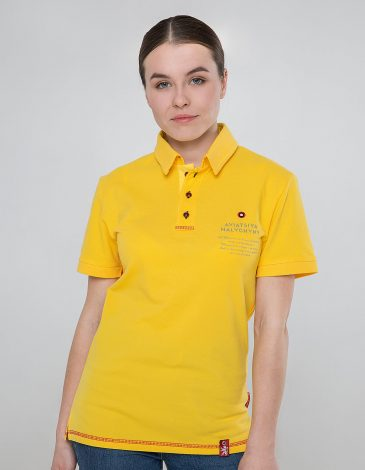Women's Polo Shirt Wings. Color yellow.  Size worn by the model: S.