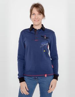Women's Polo Long Sikorsky. Color navy blue. Поло-лонґ унісекс (розміри чоловічі).