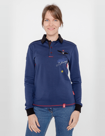 Women's Polo Long Sikorsky. Color navy blue. Unisex polo long (men's sizes).