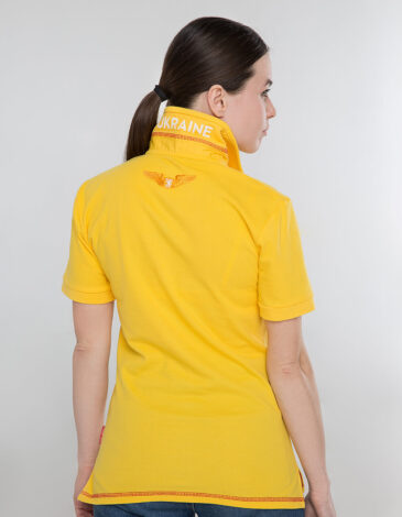 Women's Polo Shirt Wings. Color yellow.  Height of the model:180 cm.