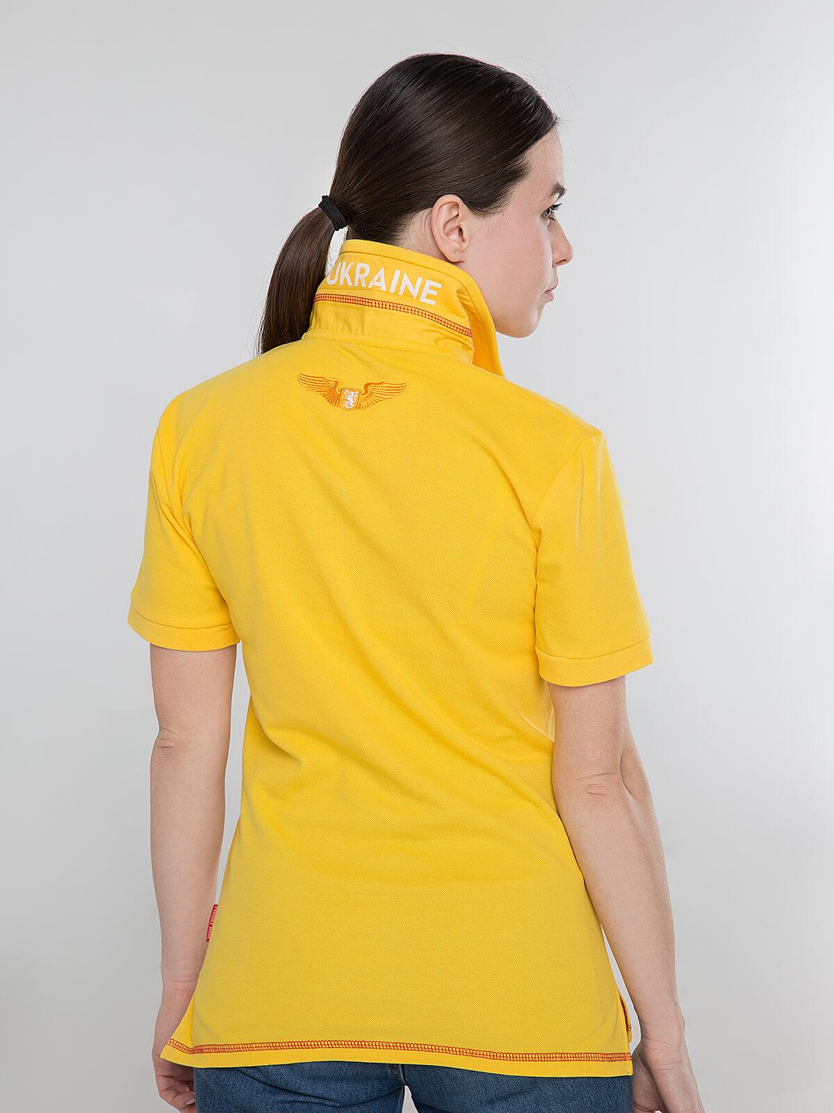 Women's Polo Shirt Wings. Color yellow.  Pique fabric: 100% cotton.