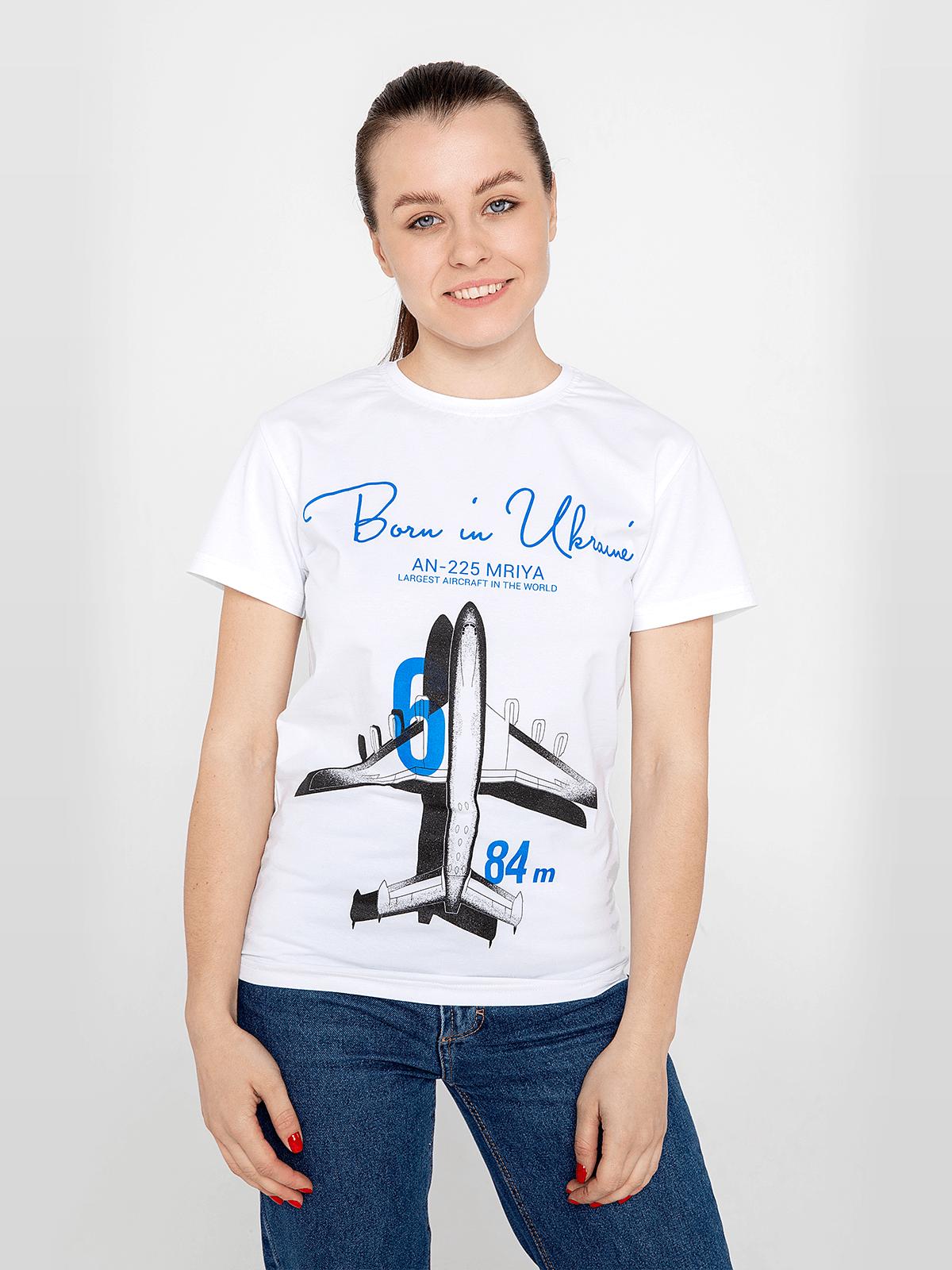 Women's T-Shirt An-225. Color white. Unisex T-shirt (men's sizes).