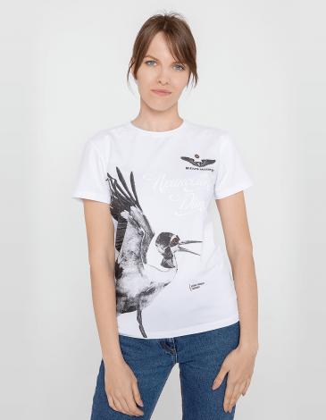 Women's T-Shirt Stork. Color white. Unisex T-shirt (men's sizes).