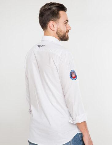 Men's Shirt Molfar-X. Color white.  Technique of prints applied: embroidery, silkscreen printing.