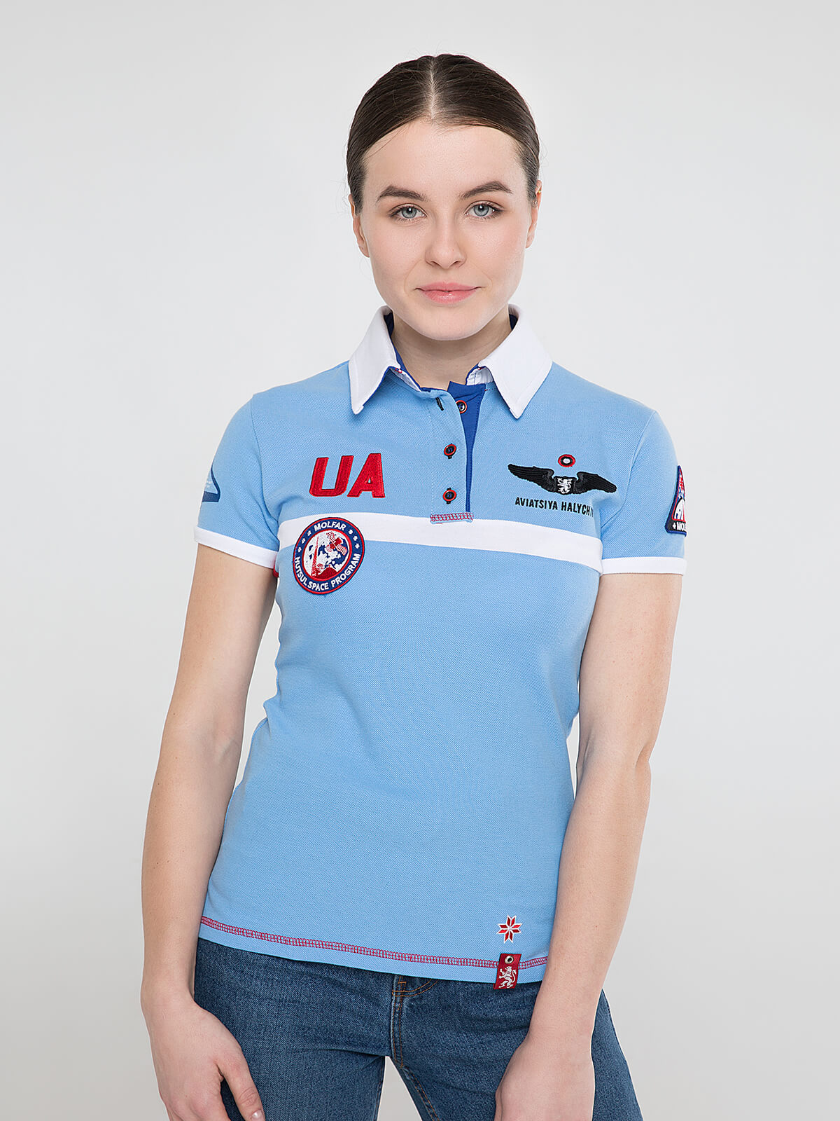 Women's Polo Shirt Molfar. Color sky blue. Pique fabric: 100% cotton.