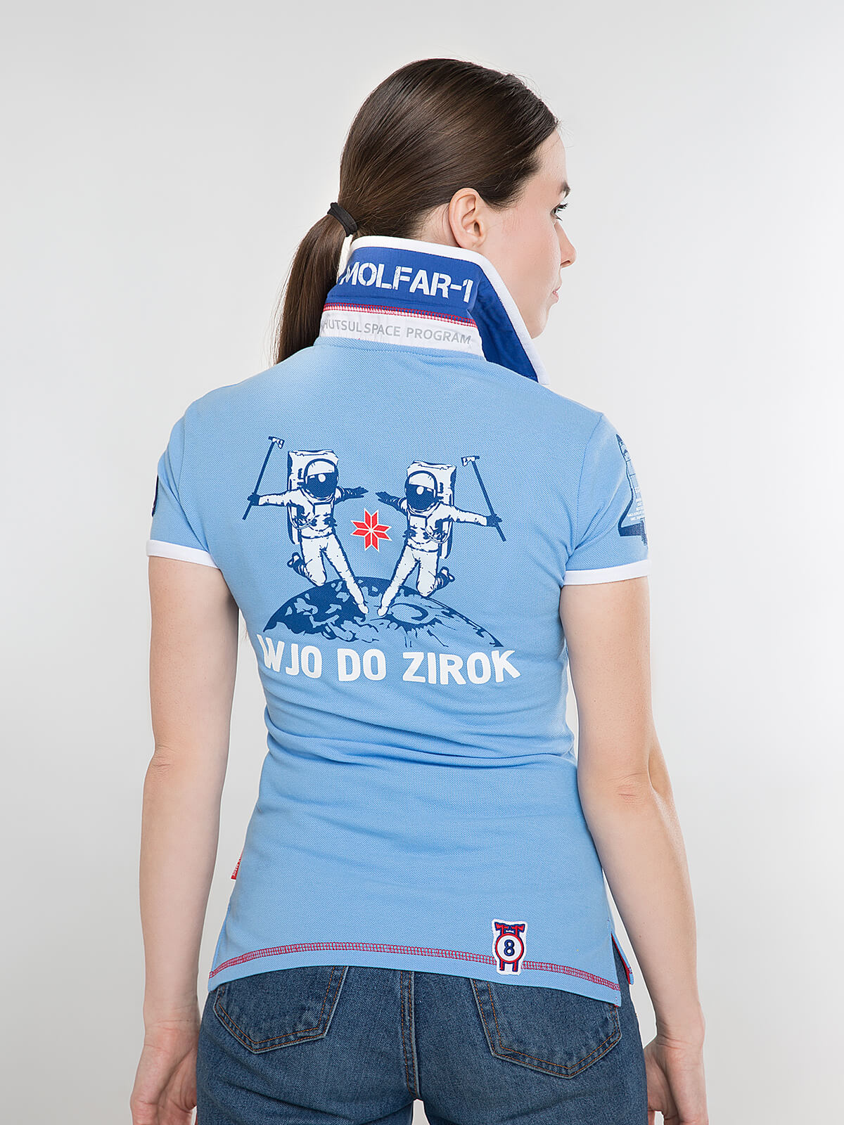 Women's Polo Shirt Molfar. Color sky blue.  Technique of prints applied: embroidery, silkscreen printing.