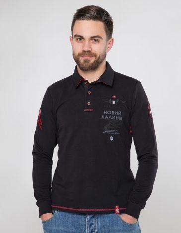 Men's Polo Long 12 Brigade (Kalyniv). Color black. Material: 75% cotton, 21% polyester, 4% spandex.