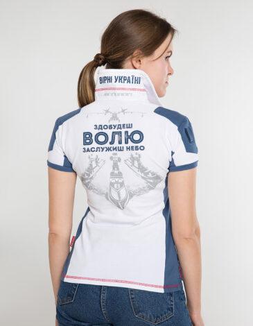 Women's Polo Shirt 10 Brigade. Color white. Pique fabric: 100% cotton.