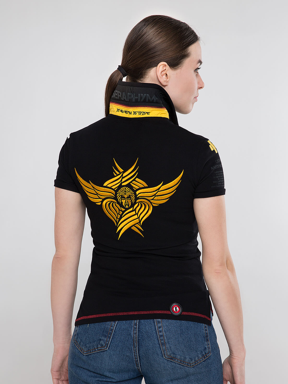 Women's Polo Shirt Seraphim. Color black.  Technique of prints applied: embroidery, silkscreen printing.
