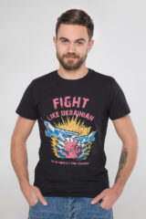 Men's T-Shirt Fight Like Ukrainian. Material: 95% cotton, 5% spandex.