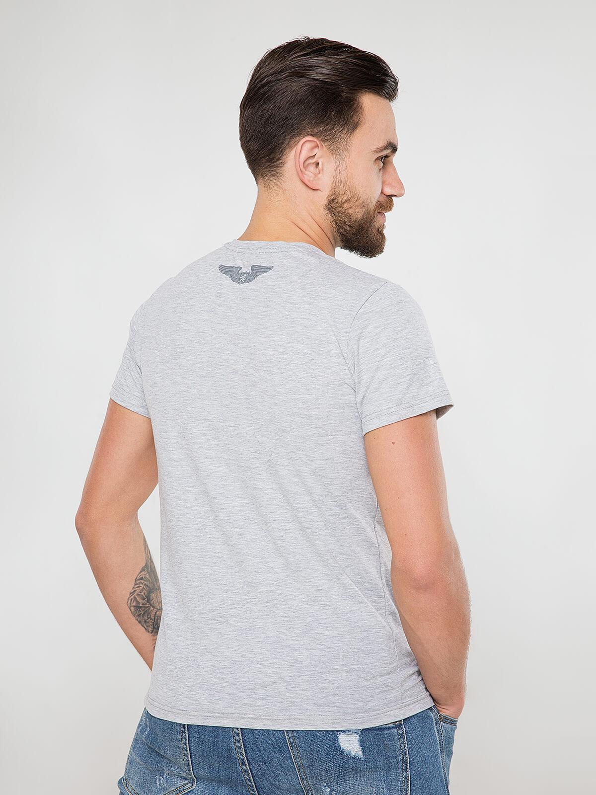 Men's T-Shirt Wjo Na Mars. Color gray.  Technique of prints applied: silkscreen printing.