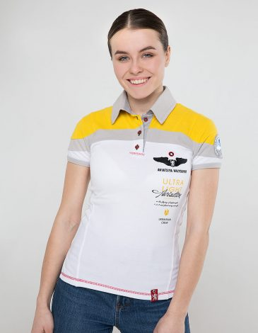 Women's Polo Shirt Borzhava. Color white.  Technique of prints applied: embroidery, silkscreen printing.