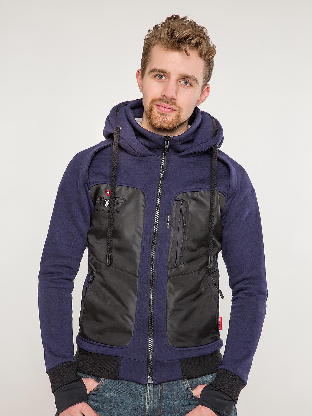 Men's Hoodie Syla. Color navy blue. Unisex hoodie (men's sizes).