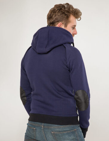 Men's Hoodie Syla. Color navy blue.  Size worn by the model: М.