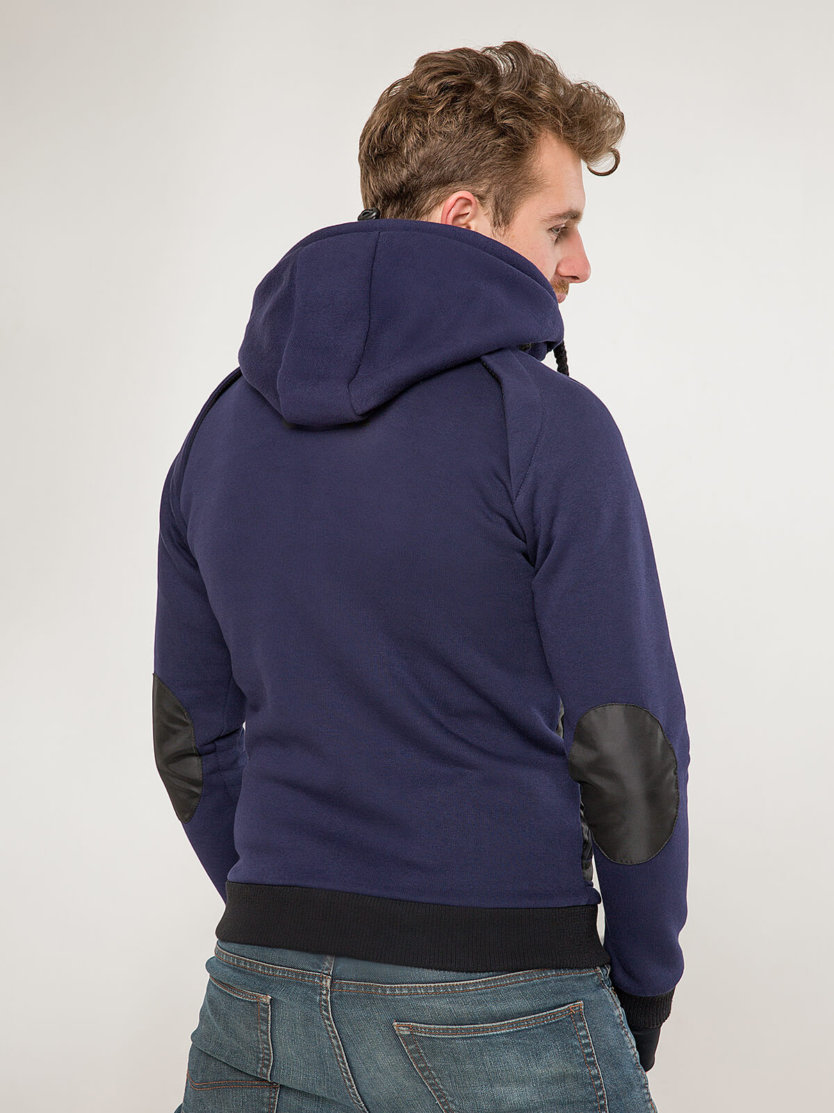 Men's Hoodie Syla. Color navy blue.  Material of the hoodie – three-cord thread fabric: 77% cotton, 23% polyester.