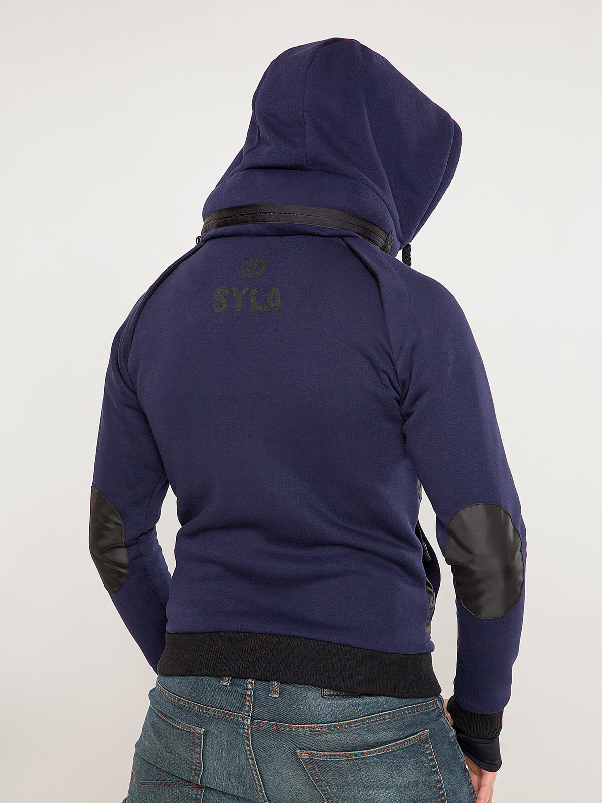 Men's Hoodie Syla. Color navy blue.  Material of the inserts – oxford cloth: 100% polyester.