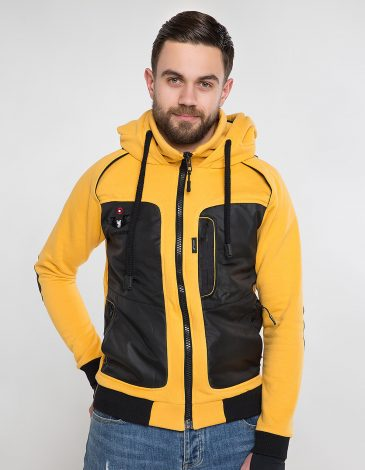 Men's Hoodie Syla. Color yellow.  Material of the hoodie – three-cord thread fabric: 77% cotton, 23% polyester.