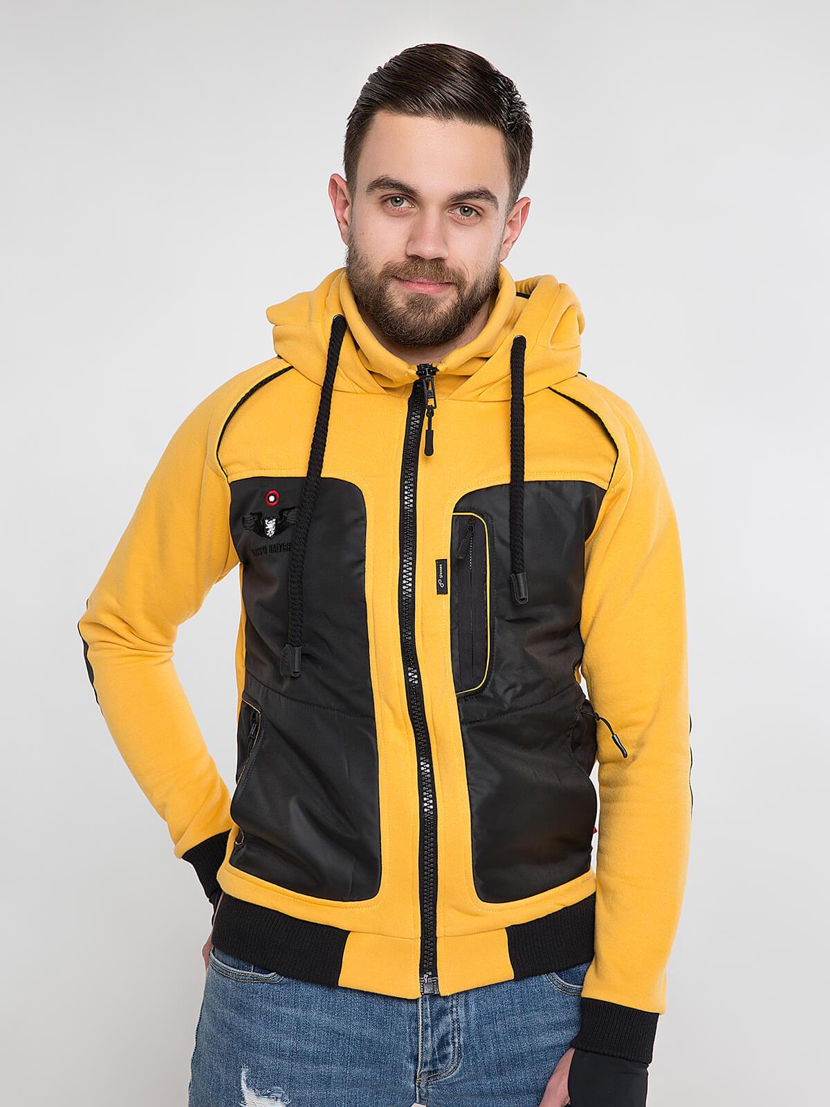 Men's Hoodie Syla. Color yellow. Unisex hoodie (men's sizes).