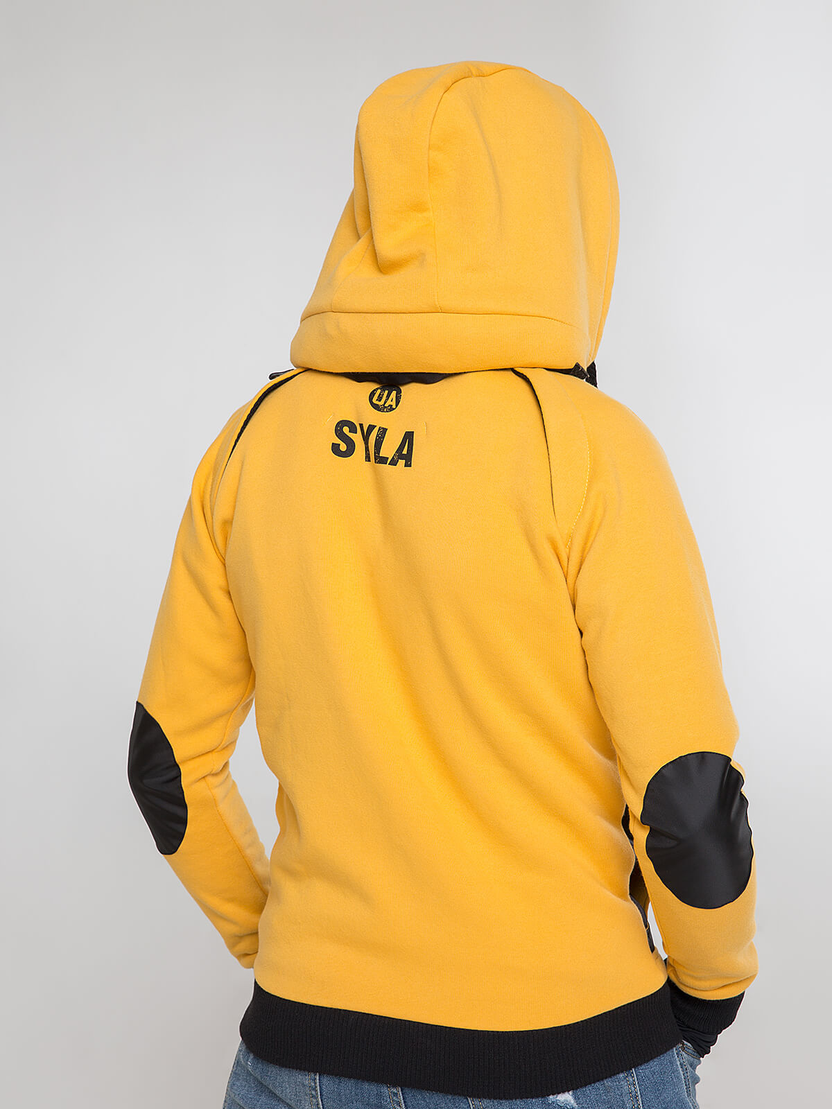 Men's Hoodie Syla. Color yellow.  Material of the inserts – oxford cloth: 100% polyester.
