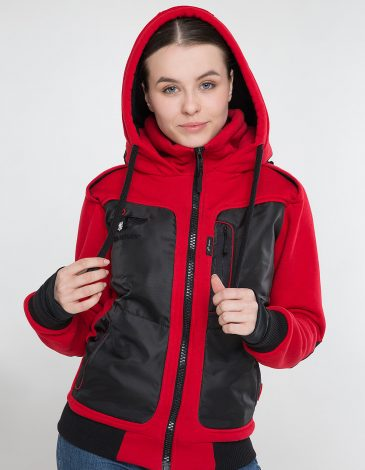 Women's Hoodie Syla. Color red.  Technique of prints applied: silkscreen printing, embroidery, chevrons.