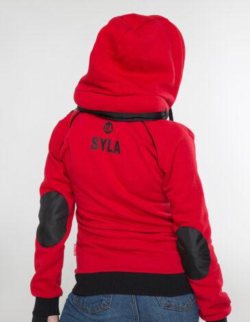 Women's Hoodie Syla. Color red. Unisex hoodie (men's sizes).
