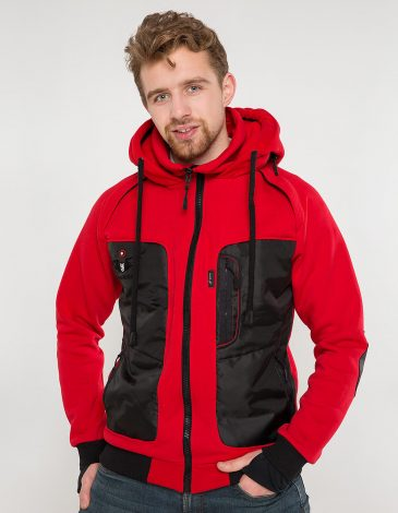 Men's Hoodie Syla. Color red.  Material of the inserts – oxford cloth: 100% polyester.