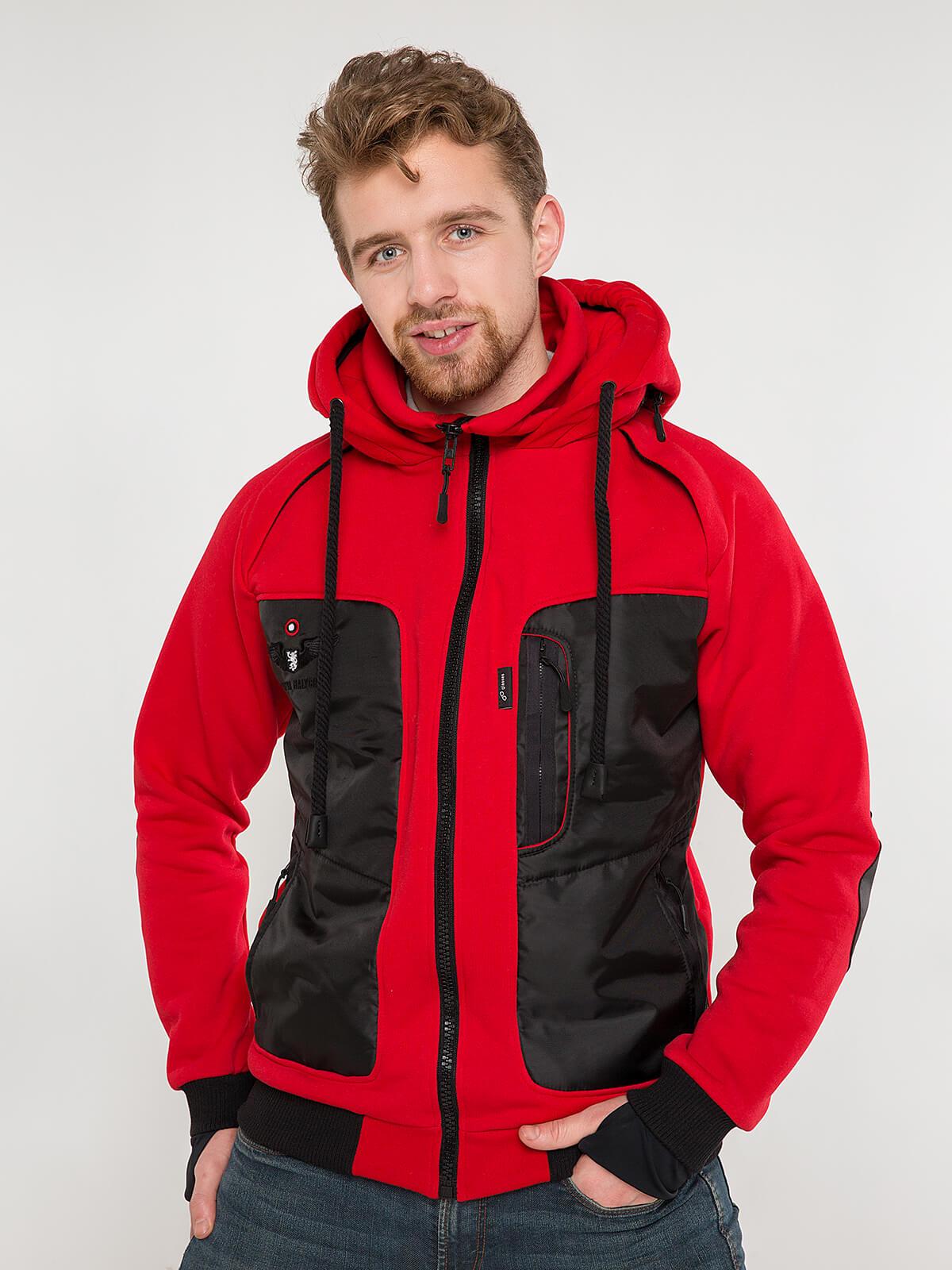 Men's Hoodie Syla. Color red. Unisex hoodie (men's sizes).
