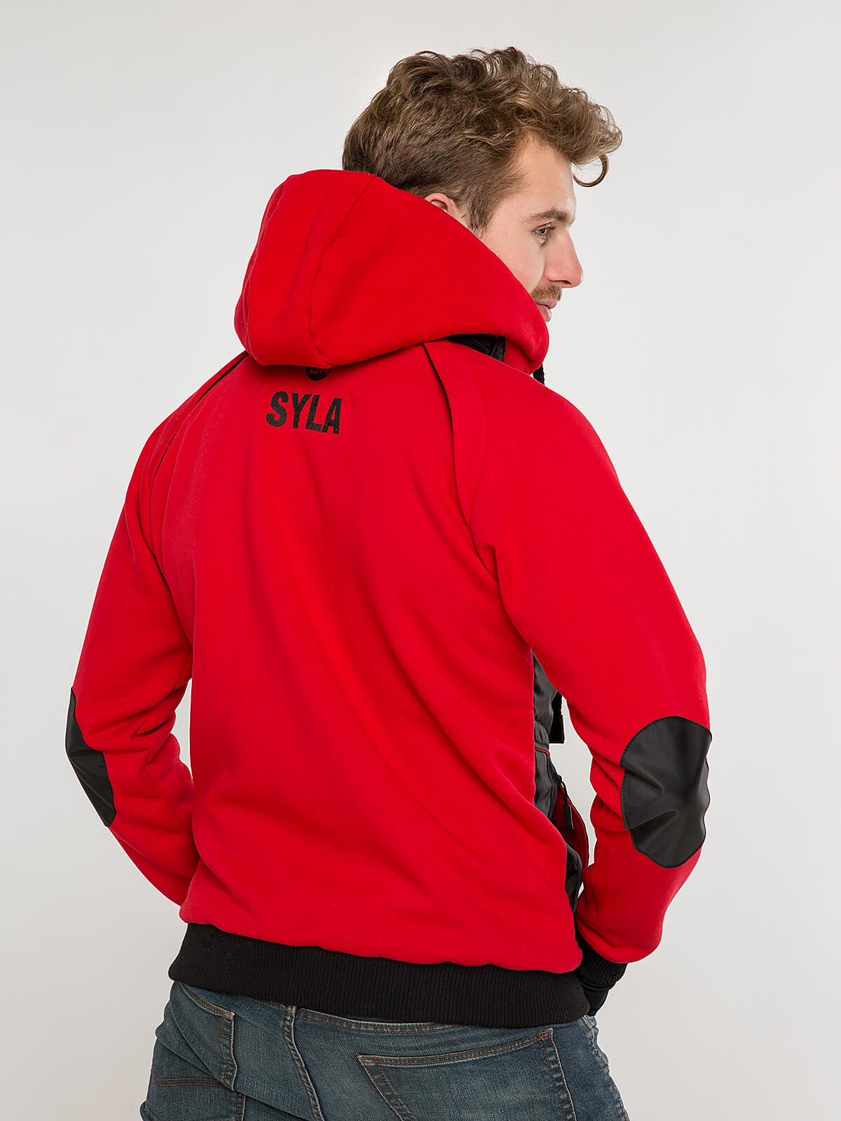 Men's Hoodie Syla. Color red.  Material of the hoodie – three-cord thread fabric: 77% cotton, 23% polyester.