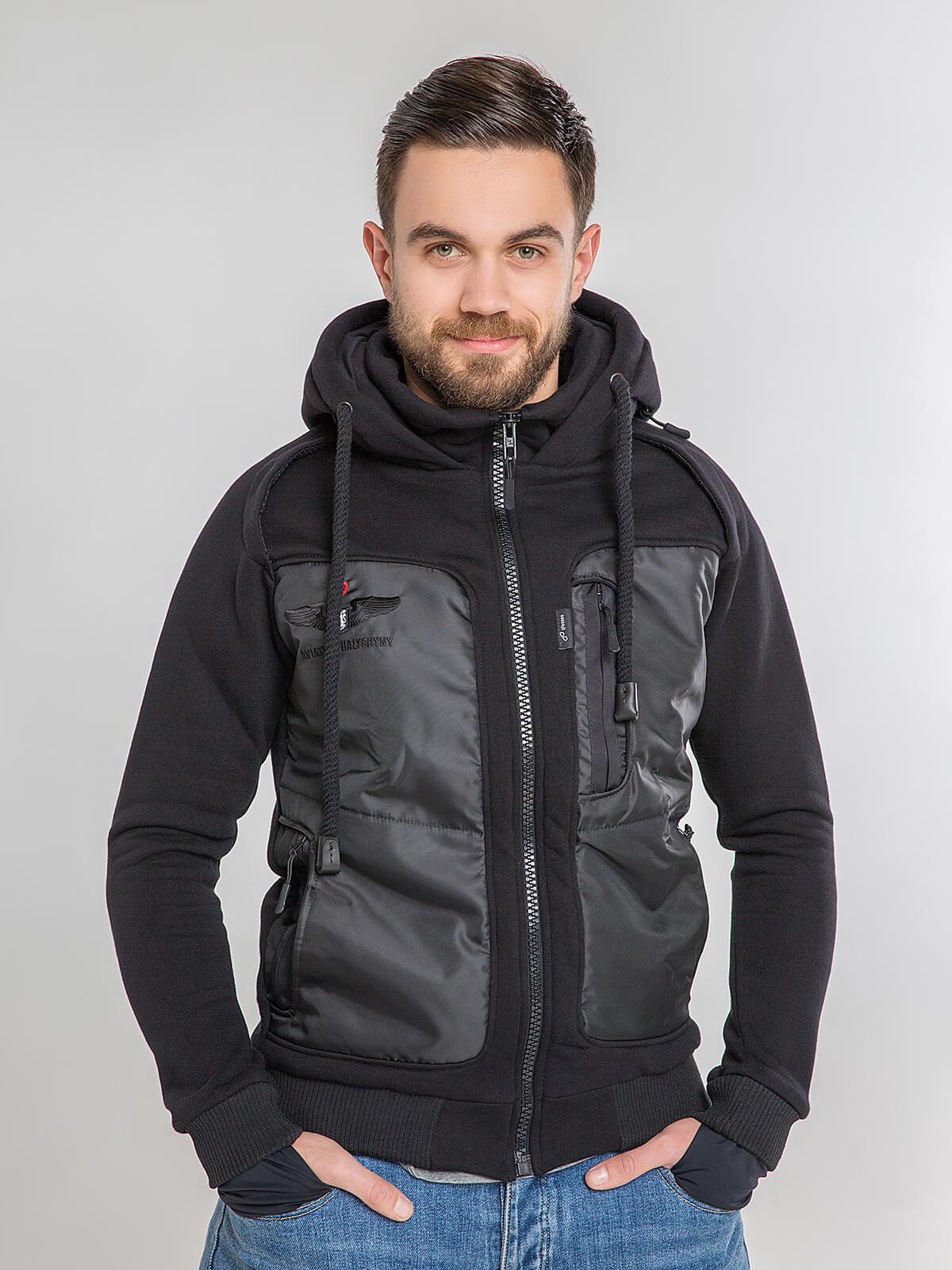 Men's Hoodie Syla. Color black. Unisex hoodie (men's sizes).