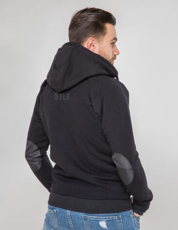 Men's Hoodie Syla. Color black.  Material of the raincoat: 100% polyester.
