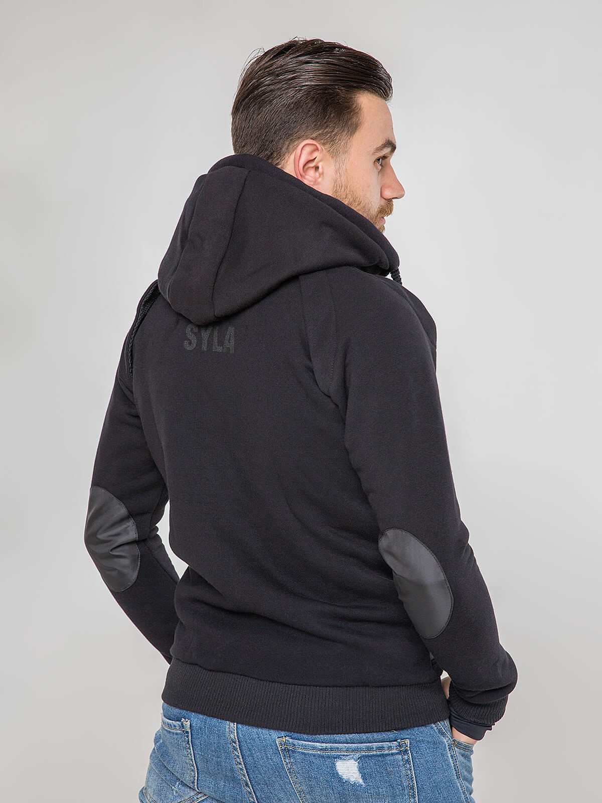 Men's Hoodie Syla. Color black.  Material of the hoodie – three-cord thread fabric: 77% cotton, 23% polyester.