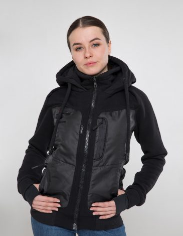 Women's Hoodie Syla. Color black.  Material of the inserts – oxford cloth: 100% polyester.