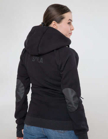 Women's Hoodie Syla. Color black.  Material of the raincoat: 100% polyester.
