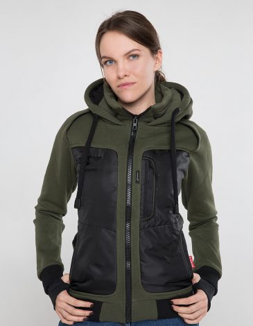 Women's Hoodie Syla. Color khaki.  Material of the raincoat: 100% polyester.