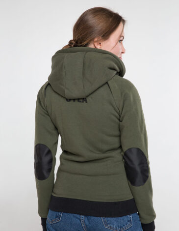 Women's Hoodie Syla. Color khaki.  Technique of prints applied: silkscreen printing, embroidery, chevrons.