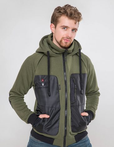 Men's Hoodie Syla. Color khaki.  Material of the raincoat: 100% polyester.