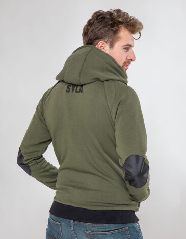Men's Hoodie Syla. Color khaki.  Technique of prints applied:  silkscreen printing, embroidery, chevrons.