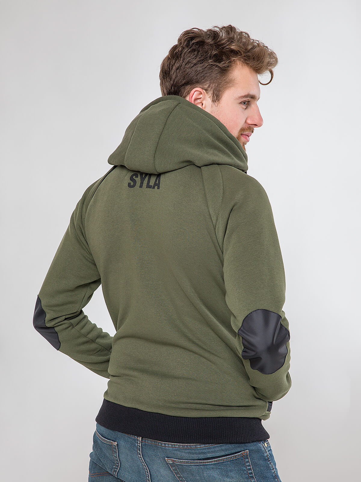 Men's Hoodie Syla. Color khaki.  Material of the hoodie – three-cord thread fabric: 77% cotton, 23% polyester.