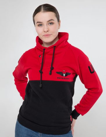 Women's Sweatshir 12 Brigade. Color red. Material: 77% cotton, 23% polyester.