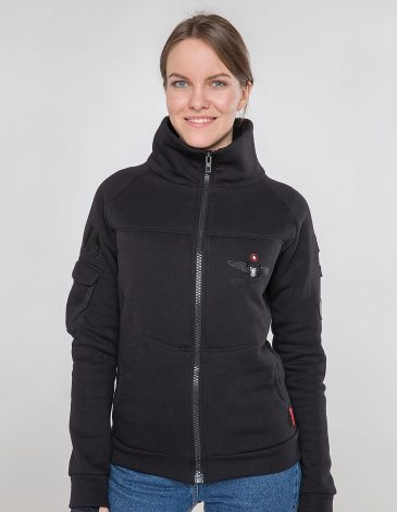 Women's Zippered Cardigan 114 Brigade. Color black. Unisex sweatshirt (men's sizes).