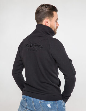 Men's Zippered Cardigan 114 Brigade. Color black. Three-cord thread fabric: 79% cotton, 21% polyester.
