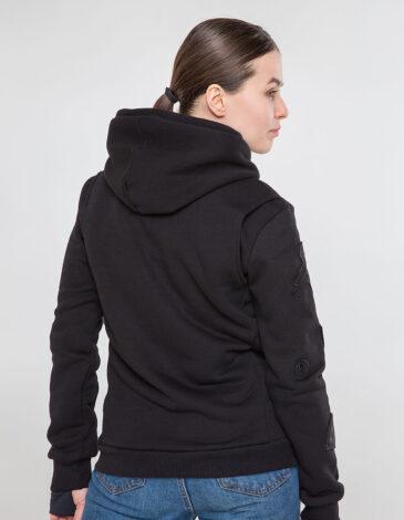 Women's Hoodie Wings. Color black. Unisex hoodie (men's sizes).