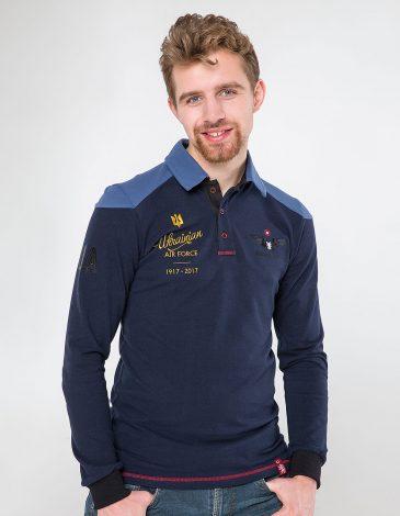 Men's Polo Long 100 Years Of Ua. Color dark blue. Pique fabric: 100% cotton.