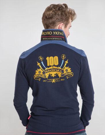 Чоловіче Поло-Лонґ 100 Років Української Авіації. Колір темно-синій. Тканина піке: 100% бавовна.
