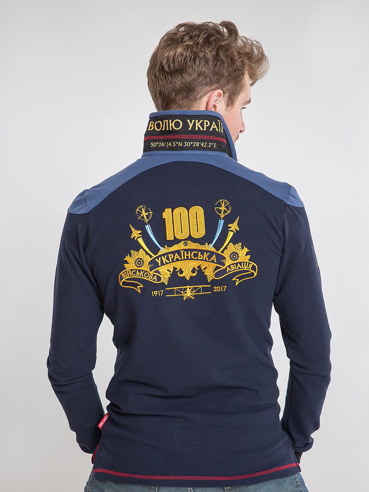 Чоловіче Поло-Лонґ 100 Років Української Авіації. Колір темно-синій.  Технологія нанесення зображень: вишивка, шовкодрук.