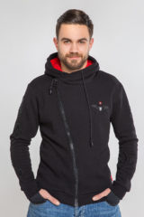 Men's Hoodie Wings. Three-cord thread fabric: 77% cotton, 23% polyester.