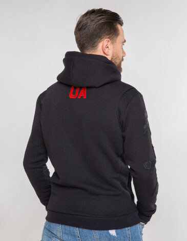 Men's Hoodie Wings. Color black. Three-cord thread fabric: 77% cotton, 23% polyester.