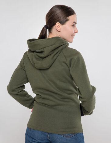 Women's Hoodie Ukrainian Air Force. Color khaki. Unisex polo long (men's sizes).