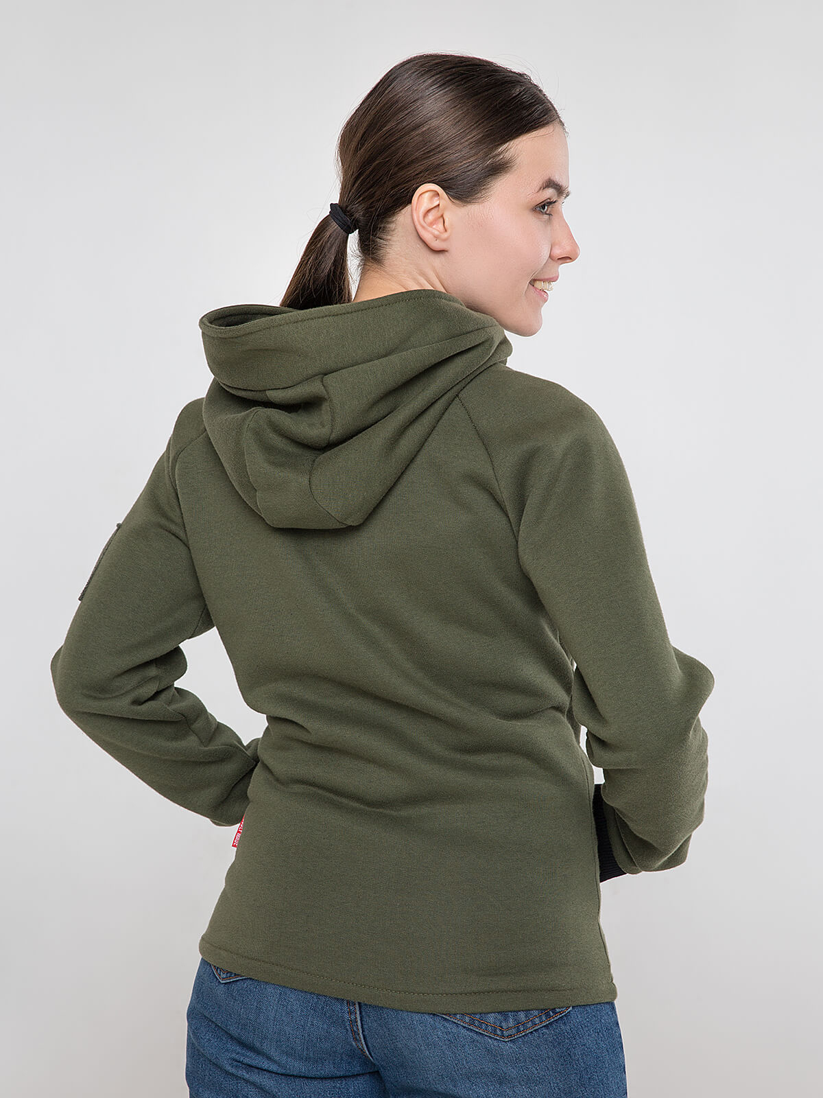 Women's Hoodie Ukrainian Air Force. Color khaki.  Don`t worry about the universal size.