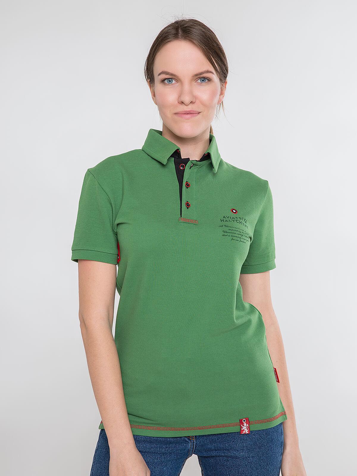 Women's Polo Shirt Wings. Color green. Unisex polo (men's sizes).